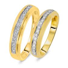 his and matching wedding bands 1 3 carat t w diamond matching wedding rings set 14k yellow gold