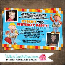 bob builder party invitations printable custom personalized photo