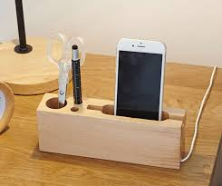 phone charger organizer multipurpose wooden pen pencil holder phone charging station stand