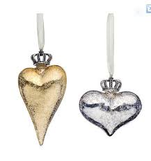 new glass crown and ornament in silver or gold features a