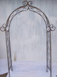 wrought iron x arch trellis flower arbor