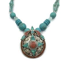 stone turquoise necklace images Nepal necklace turquoise necklace coral stone tibet nepalese jpg