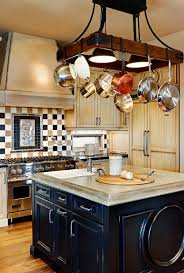 Islands For A Kitchen Hanging Pots Over A Kitchen Island For A Rustic Look Wiseman And