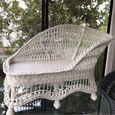 vintage wicker fainting couch child size rattan settee white
