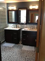 Bathroom Remodel With Curved Barrier Free Glass Block Walk In