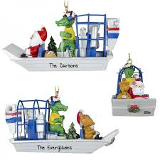 gator driving air boat with santa ornament personalized