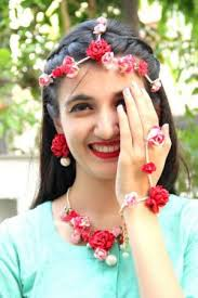 flower jewellery necklace set pink paper flower jewellery online