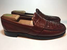 allen edmonds ivanhoe brown leather woven penny loafers mens 9 d