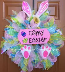 Easter Decorations Front Door by Happy Easter Bunny Wreath Wreaths Pinterest Happy Easter