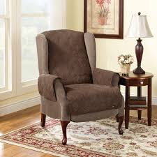 furniture gray wingback recliner on cozy berber carpet for