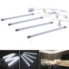 led strip lights under cabinet amazon com cefrank set of 4 led light bar cool white under