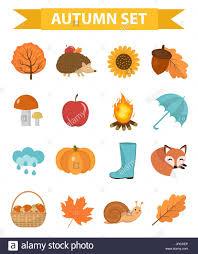 imagenes animadas de otoño iconos de otoño plana o estilo de dibujos animados colección
