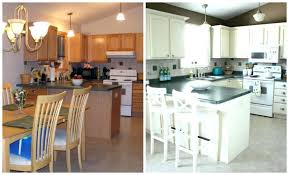 Gel Stain Kitchen Cabinets Before After Spray Painting Kitchen Cabinets Before And After Refinishing Oak