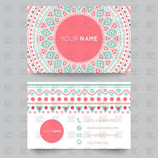 Biz Card Template Business Card Template With Round Geometric Ethnic Ornament Vector
