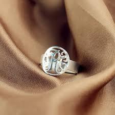 monogrammed ring silver circle monogram initial ring