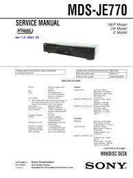 sony mds je770 service manual printed circuit board