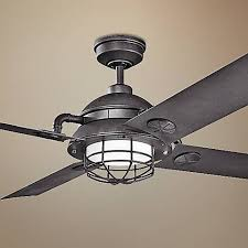 Black Outdoor Ceiling Fan With Light 65 Kichler Maor Led Distressed Black Ceiling Fan 7k334 Ls