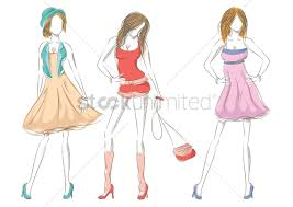 collection of artistic fashion model sketches vector image