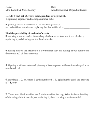 bunch ideas of probability of independent and dependent events