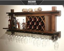 european wood bar display wall hanging glass wall wine rack wine