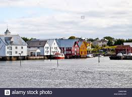 typical view of scandinavian fishing village bud norway stock