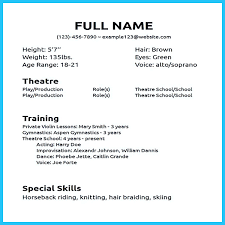 musical theatre resume exles musical theatre resume exles musical theater resume template