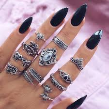 finger rings set images 11pcs boho women charms rings set hollow elephant leaf crystal jpg