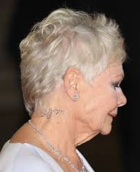 judi dench hairstyle front and back of head dame judi dench wears a 007 swarovski crystal tattoo at the skyfall