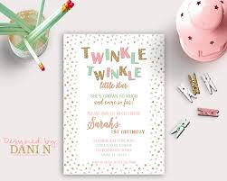 Printable Party Invitation Cards Mint And Pink Twinkle Twinkle Birthday Invitation Gold