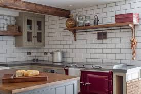 Wood Kitchen Cabinets by Country Cottage Kitchens White L Shaped Oak Wood Kitchen Cabinets