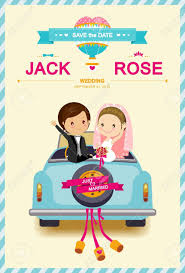 cute bride and groom in wedding car wedding invitation template