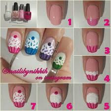 easy seven steps how to make diy cupcake nail art design idea with
