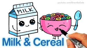 how to draw milk and cereal step by step cute and easy cartoon