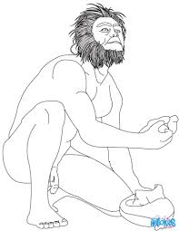homo habilis using a stone to break bones coloring pages
