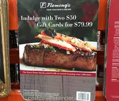 fleming s gift card fleming s steakhouse wine bar two 50 gift cards for 79 costco