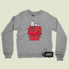 snoopy christmas sweatshirt peanuts snoopy christmas lights dog house sweatshirt unisex size s