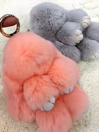 peach car peach pink pom poms bunny dolls keychains cute purse charm real