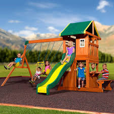 Sears Backyard Playsets Backyard Discovery Oakmont Cedar Wooden Swing Set Walmart Com