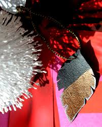 diy gold leather feather ornament citizens of