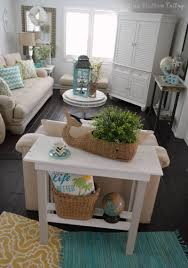 Decorating A Sofa Table Behind A Couch More Summer Decor And A Diy Paint Makeover