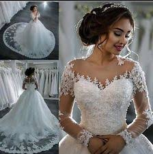 ball gown duchess lace long sleeve wedding dresses ebay
