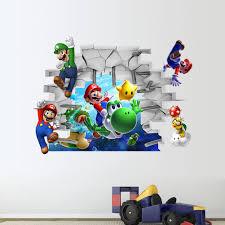 cartoon super mario bros 3d through wall stickers for kids baby