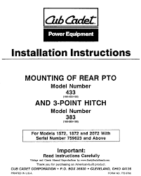 rusty bucks ranch cub cadet manuals index