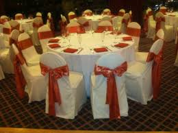 rust sash and white chair covers rust chaircover chaircovers