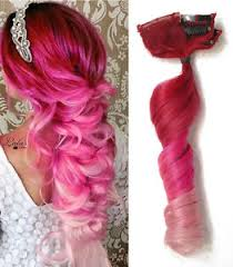 pink hair extensions clip in human hair extensions strawberry hot pink pastel