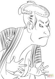 kabuki actor otani by toshusai sharaku coloring page free