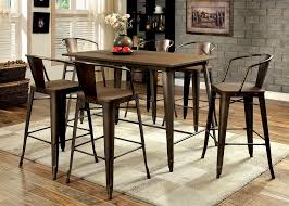 bar height table industrial cooper industrial inspired metal frame counter height 7pcs dining