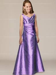 taffeta junior bridesmaid dress with v neckline