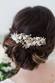 flower hair clip wedding hair accessories bridal headpiece gold flower