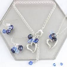 silver necklace bracelet set images Sterling silver open heart jewellery set bish bosh becca jpg